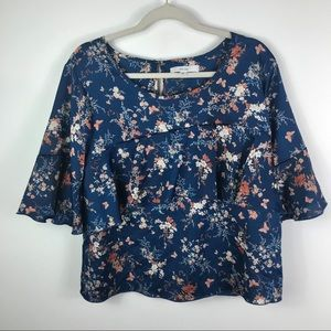 Miss Lili floral print ruffle front bell sleeves